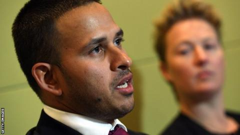 Australia A captain Usman Khawaja speaks at a news conference in Sydney