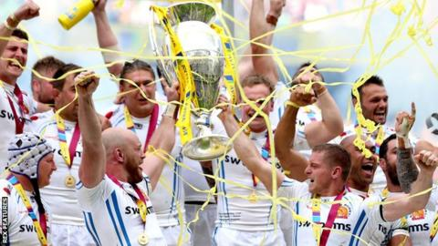 Exeter Chiefs celebrate their Premiership win