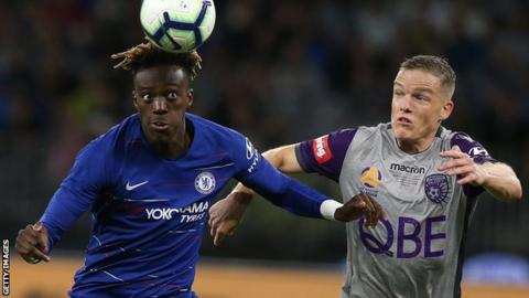 Tammy Abraham playing for Chelsea against Lyon