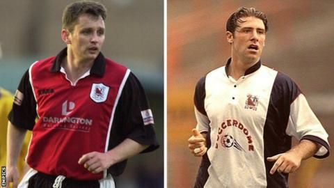 Brian Atkinson (left) and Sean Gregan were Darlington team-mates in their old Football League days back in 1996
