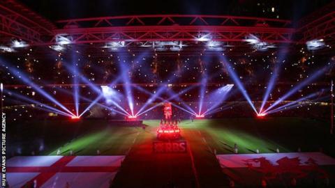 Light show at the Millennium Stadium in 2015