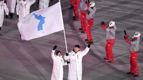 Unified Korea flag with flagbearers Chung Gum Hwang (left) and Yunjong Won (right)