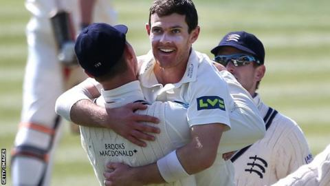 James Harris celebrates taking a wicket