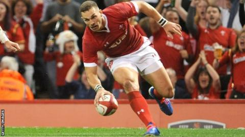 George North scores for Wales