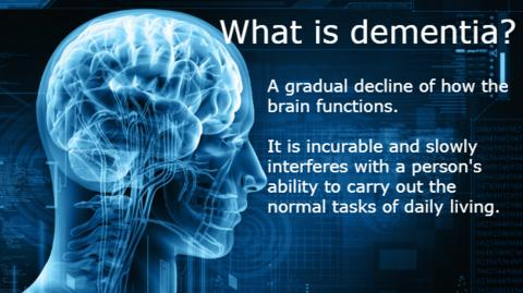 Graphic showing the definition of dementia. It is a gradual decline of how the brain functions. It is incurable and slowly interferes with a person's ability to carry out the normal tasks of daily living
