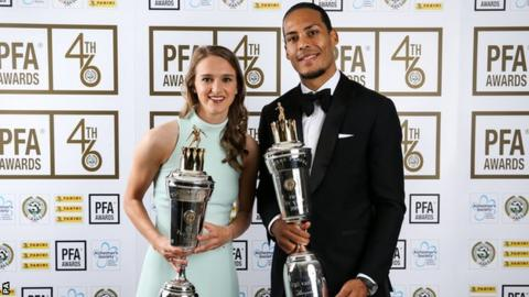 Arsenal women forward Vivianne Miedema (left) and Liverpool defender Virgil van Dijk (right) pose with their PFA Player of the Year award trophies