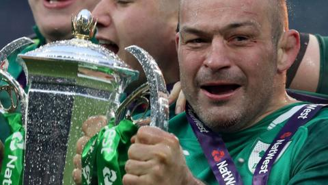 Hooker Rory Best celebrates Ireland's Grand Slam triumph at Twickenham on Saturday