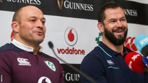 Rory Best with Ireland defence coach Andy Farrell in 2016