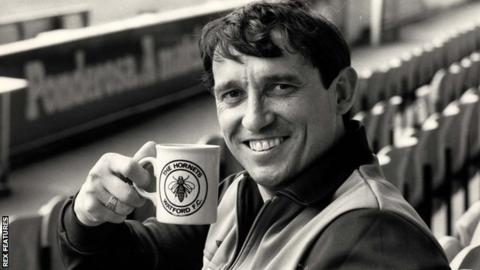 Graham Taylor with a Watford mug