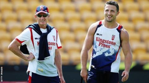 England coach Wayne Bennett with Sam Burgess