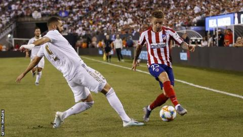 Kieran Trippier in action for Atletico Madrid against Real Madrid
