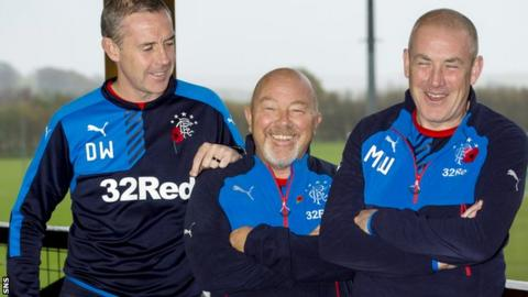 Rangers assistant manager David Weir, head of recruitment Frank McParland and manager Mark Warburton