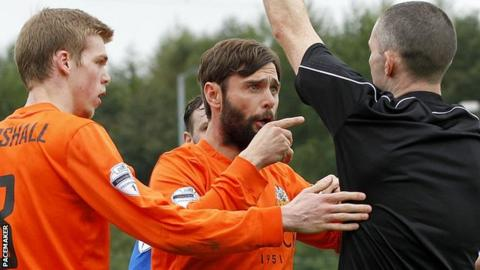 Hamilton was sent off during Glenavon's match away to Dungannon Swifts