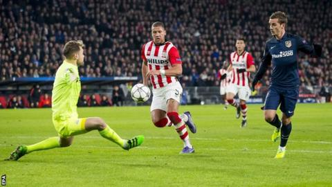 Atletico Madrid forward Antoine Griezmann is denied by PSV Eindhoven keeper Jeroen Zoet