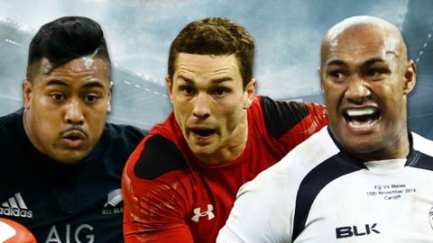 New Zealand wing Julian Savea, Wales wing George North and Fiji back Nemani Nadolo
