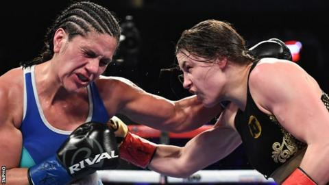 Katie Taylor had a unanimous points win over Victoria Noelia Bustos in New York