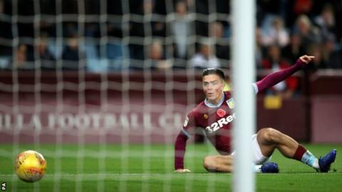 Jack Grealish opens the scoring for Aston Villa against Bolton