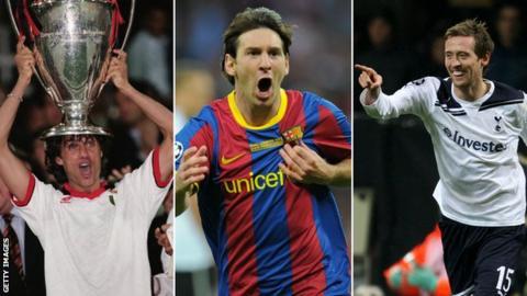 Paolo Maldini, Lionel Messi and Peter Crouch