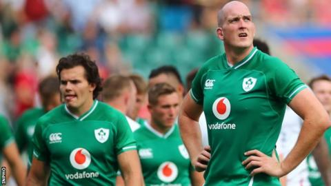 Devin Toner and Ireland team-mates after last August's hammering by England at Twickenham