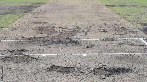 The pitch at Blacktown, Sydney which caused New Zeland's tour match to be abandoned