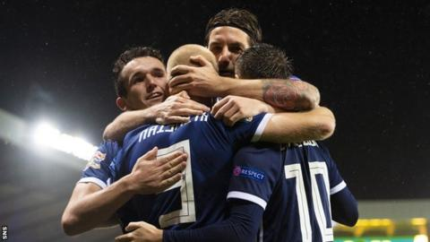 Steven Naismith is congratulated after scoring Scotland's second