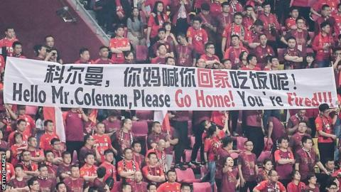 Fans make their feelings known to Chris Coleman
