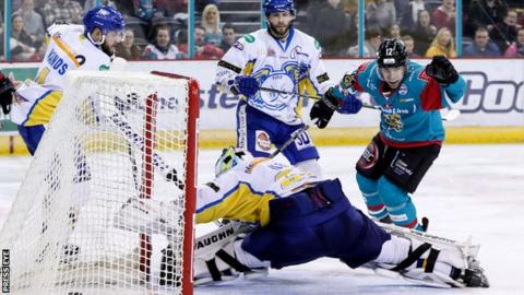 Steve Saviano celebrates scoring Belfast Giants fifth goal against Fife Flyers