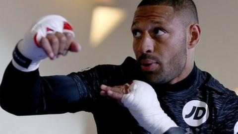 Kell Brook during a public workout at the Crucible in Sheffield, England.