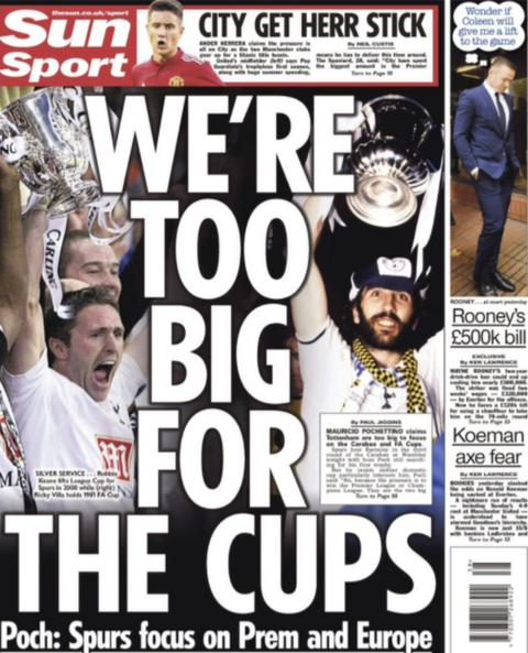 The Sun's back page focuses on Tottenham
