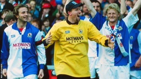 Tim Flowers (centre) celebrates winning the Premier League with Blackburn Rovers in 1995