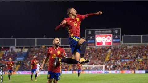Spain's Rodrigo celebrates giving Spain the lead against Albania