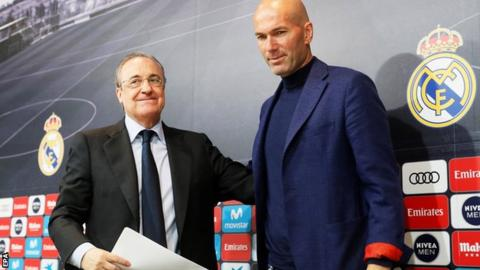 Real Madrid's president Florentino Perez (left) and former head coach Zinedine Zidane