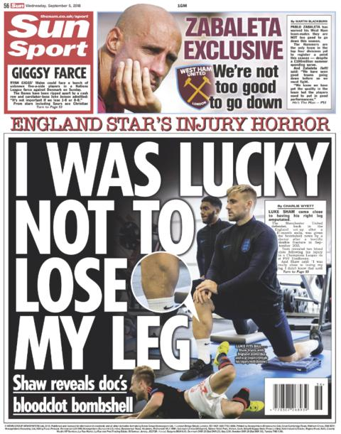 The Sun back page on Wednesday