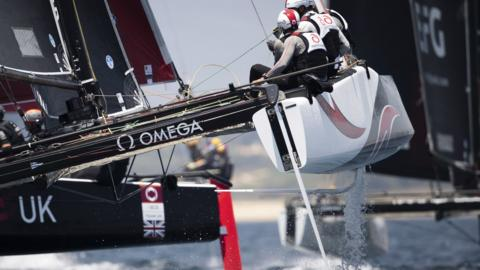 Lagos, Portugal, 29 June: Team Alinghi skippered by Arnaud Psarofaghis in action during the 2019 GC32 Racing Tour World Championships. (Photo by Lloyd Images/Getty Images)