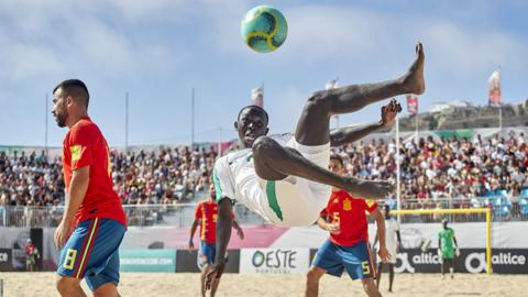 Nazare, Portugal, 14 August: Papa Modou of Senegal shots on goal during the match between Senegal and Spain during day 2 of Mundialito Nazare 2019 at Estadio Do Viveiro (Photo by Quality Sport Images/Getty Images)