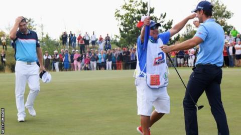 Disappointment for Padraig Harrington as Andrea Pavan celebrates his maiden European Tour victory