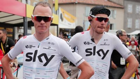 Team Sky riders Chris Froome and Luke Rowe