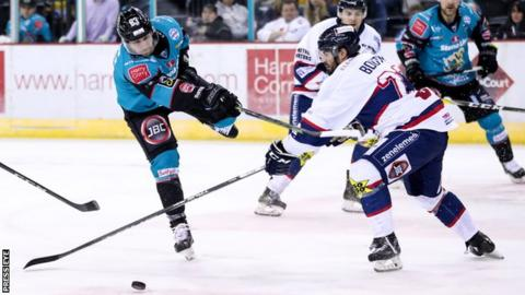 Belfast Giants' Dustin Johner with Dundee Stars' Shawn Boutin