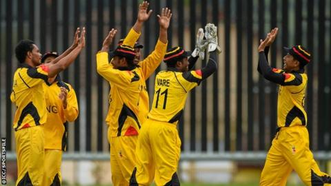 Papua New Guinea celebrate a wicket against Jersey