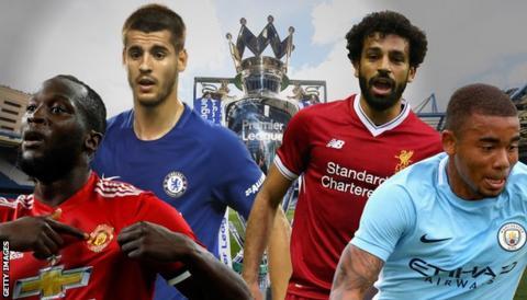 Manchester United's Romelu Lukaku, Chelsea's Alvaro Morata, Liverpool's Mohamed Salah and Manchester City's Gabriel Jesus