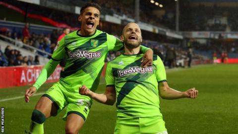 Max Aarons and Teemu Pukki celebrate the Finn's goal against QPR