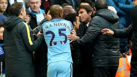 Antonio Conte after Manchester City's midfielder Fernandinho is sent off