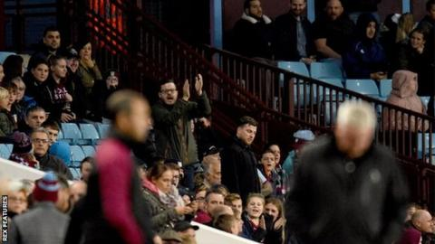 Aston Villa fans react to manager Steve Bruce during their 3-3 draw with Preston - his final game before being sacked