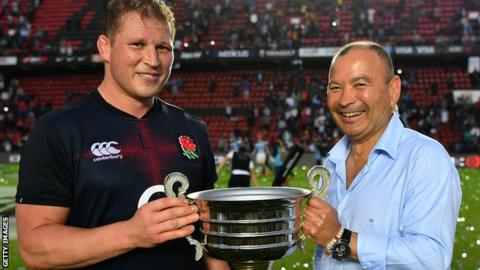 Dylan Hartley (left) with Eddie Jones