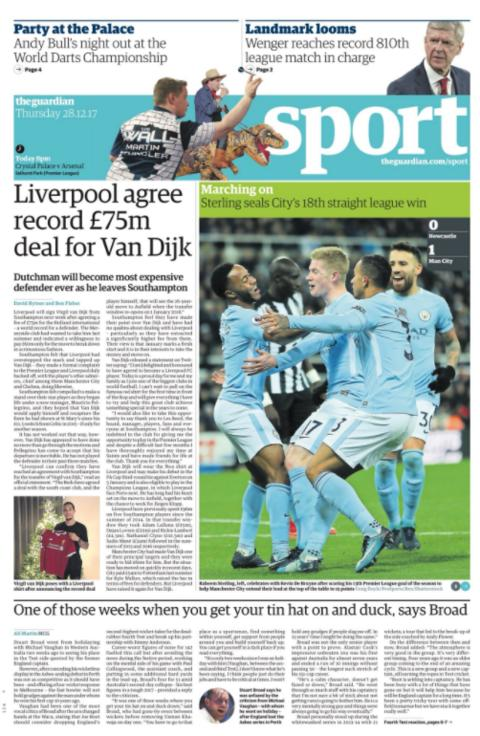 The Guardian's sport section on Thursday