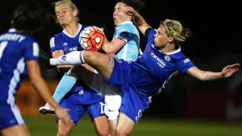 Chelsea vs Manchester City in the final of the 2017/18 WSL