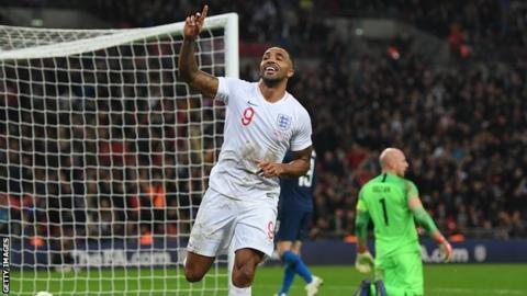 Callum Wilson celebrates scoring for England on his debut