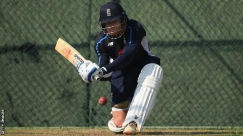 England batsman Jonny Bairstow plays a sweep shot during nets practice before the third Test against Sri Lanka