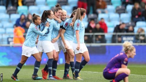 Manchester City Women celebrate goal