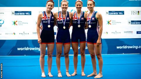 Robyn Hart-Winks, Gemma Hall, Madeleine Arlett and Ellie Piggott after winning silver in the lightweight women's quadruple scull